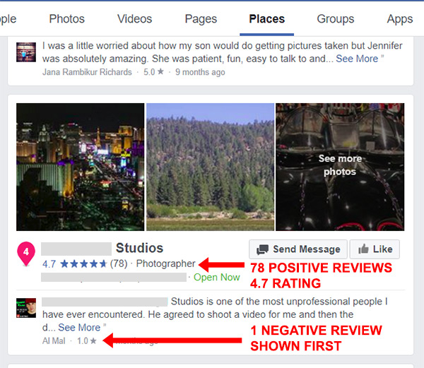 negative facebook review